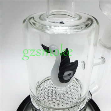 New Popular Swan Glass Water Bong with Honeycomb Perc Filter Glass Water Pipes Ash Catcher Hookah Bongs for Smoking Weed In Stock