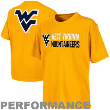 West Virginia Mountaineers Youth Sonic Training Performance T-Shirt - Gold - http://www.shareasale.com/m-pr.cfm?merchantID=7124&userID=1042934&productID=520955383 / West Virginia Mountaineers