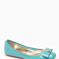 Bamboo Sea Green Faux Patent Leather Bow Flats