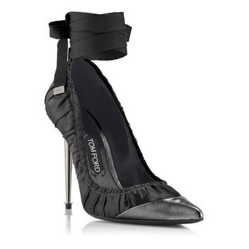 RUCHED ANKLE TIE PUMP