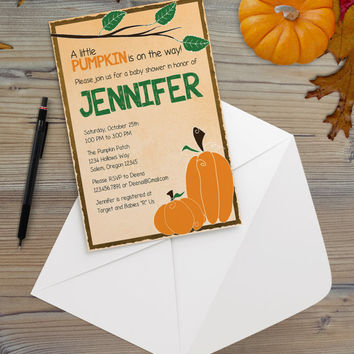 Instant Download - Pumpkin Autumn Fall Season Orange Brown Baby Announcement Shower Cottage Chic Party Invitation Template