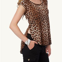 Leopard Zip Back Side Slit Tunic top