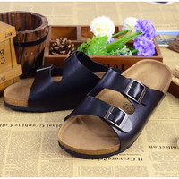 2016 new summer lovers casual Sandals flat Fashion cork women slippers Man beach slippers non slip home Sandals plus size XD2772