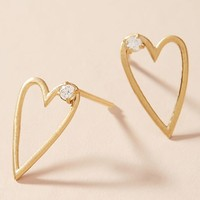 Open Hearted Petite Hooped Post Earrings
