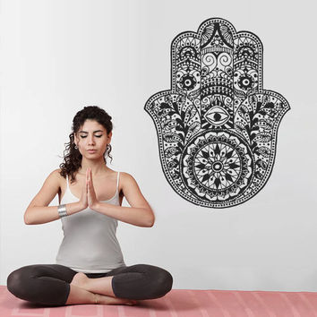 Wall Decal Vinyl Sticker Decals Hamsa Hand Eye Indian Yoga  Buddha Menhdi Ganesh Fatima Namaste (z3129)