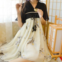 Chinese Tradition Hanfu Zixun Flower Dress Ink Painting Flying Sleeves Vintage Mori Girl Dress