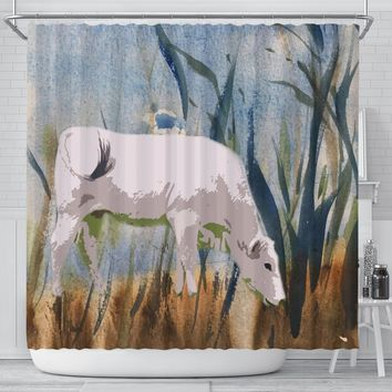 Chianina Cattle (Cow) Print Shower Curtain-Free Shipping