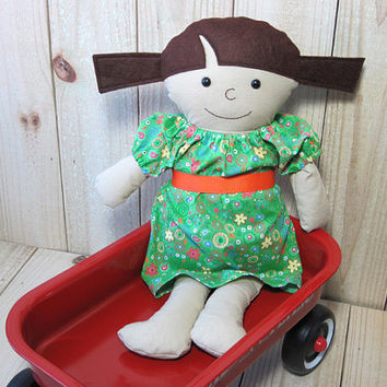 """16"""" Rag Doll with Brown Pigtails, Dress Up Doll, Soft Cloth Doll"""