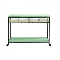 Mint Industrial Rolling Storage Console Table