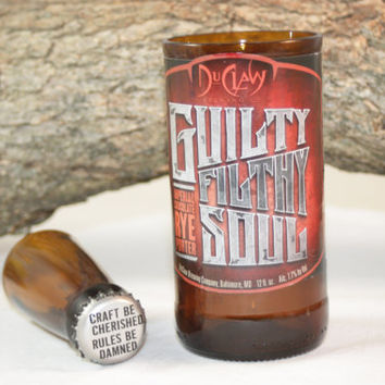 Unique Glassware Upcycled from Du Claw's Guilty Filthy Soul Beer Bottles, Shot Glass, Drinking Glass, Du Claw Guilty Filthy Soul Gift Set