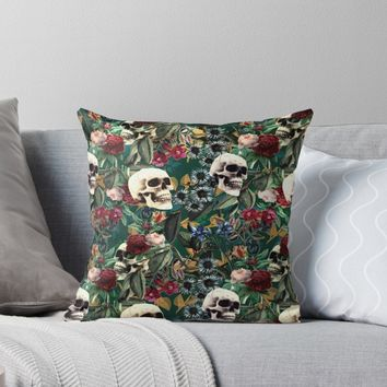 'Flowers and Skulls (Green)' Throw Pillow by RoxanneG