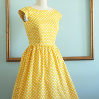 yellow polka dot dress - cotton fabric dress - yellow dress - retro clothing - womens dress - vintage inspired