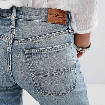 Denim & Supply by Ralph Lauren High Waist Rigid Mom Jeans with Raw Hem at asos.com