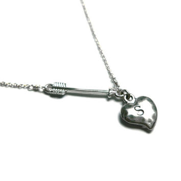 "Personalized Sterling Silver Heart and Sideways Arrow w/ Initial Necklace 16"" - 20"""