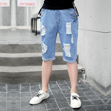 Boys Summer Jeans Knee Length Cotton Blue Shorts Boy Trousers 2017 Kids Clothes For 4 6 8 10 12 14 Years Old RKP184004