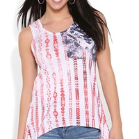 American Flag Sharkbite Tank Top with Lace Back and Sides