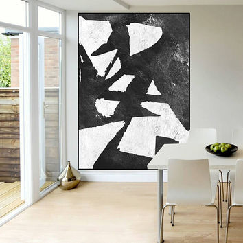 minimalist wall art large abstract painting, modern original painting  on canvas black and white, large abstract art, Contemporary Painting