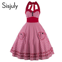 Sisjuly 1950s vintage women dresses 2017 halter sleeveless bow-knot party dress pin up rockabilly fashion style vintage dresses