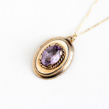 Sale - Antique 10k Rose Yellow Gold Rose De France Amethyst Pendant Necklace - 1910s Edwardian Light Purple Oval 4+ Carats Gem Fob Jewelry