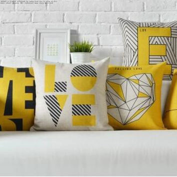 Modern fashion and yellow contracted geometric cotton and linen hold pillow letters sofa cushion for leaning on of 45 * 45