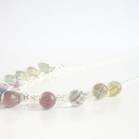 Rainbow Flourite Necklace, Waterfall Necklace, Cascading Necklace in Sterling Silver