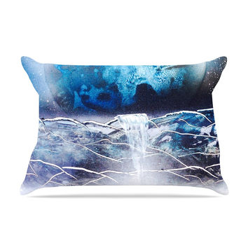"Infinite Spray Art ""Surreal Falls"" Blue Planet Pillow Case"
