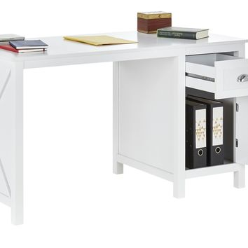 Country - Desk with 1 door and 1 drawer, white lacquered, metal handles, country style