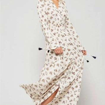 Button-Down Flower Print Maxi Dress