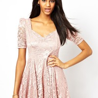 John Zack Lace Skater Dress With Sweetheart Neckline