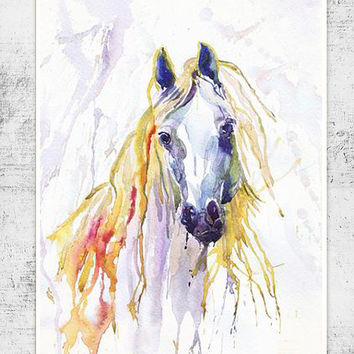 White Horse  watercolor painting print ,  wall decor, animal art,  poetry in motion, room decor , Illustration