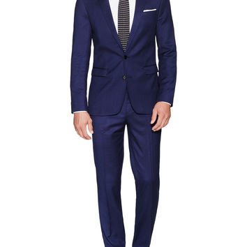 Aspetto Men's Solid Notch Lapel Suit - Dark Blue/Navy -