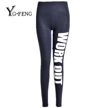 YGFENG Style 2017 Women Letter Printed Leggings Fitness Work Out Black Leggings Fashion Stretch Jegging Leggings For Female