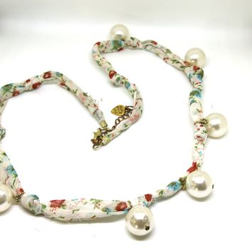 Chiffon Scarf Necklace with Large Pearls