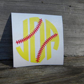 Softball Monogram Vinyl Decal - Circle Font - Car - Gift - Tumbler - Laptop - iPhone - Phone - Glitter - Sticker -  Laces - Stitching