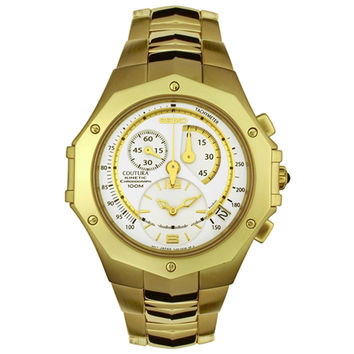 Seiko SNL038 Men's Coutura Kinetic White Dial Gold Tone Steel Chronograph Watch