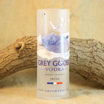 Drinking Glass Tumbler Upcycled From Grey Goose Vodka Bottle, ONE Grey Goose Drinking Glass, Recycled Liquor Bottle
