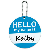 Kolby Hello My Name Is Round ID Card Luggage Tag