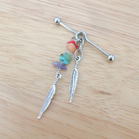 Rainbow Feathers Industrial Barbell; Industrial Piercing; Ear Barbell; 14G