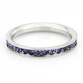 Amethyst Gemstone Full Eternity ring - stacking ring - wedding band in white gold or titanium