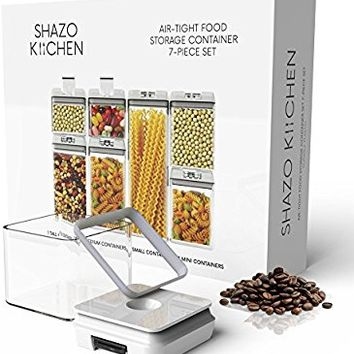 Shazo Airtight Container Set for Food Storage - 7 Piece Set + 18 Chalkboard Labels & Chalk Marker - Heavy Duty BPA Free Plastic - Airtight Storage Clear Plastic w/White Interchangeable Easy Lock Lids