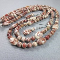 Breciatted jasper rust brown tan beige double strand necklace earrings