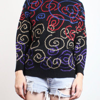 Vintage 1980s Sweater Black Blue Red Gold Metallic Purple Swirl Rave 80s Sweater New Wave Pullover Cosby Sweater Mod Jumper S Small M Medium