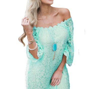 Mint Off The Shoulder 3/4 Sleeve Floral Lace Dress