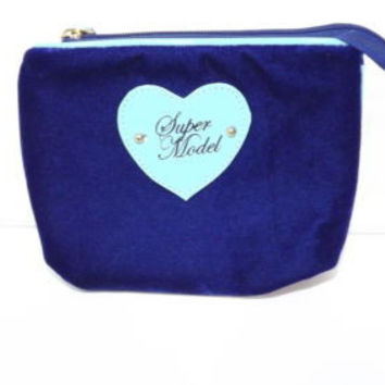 SUPER Model w/ Light Blue Heart Purplish NAVY Crush velvet make UP Bag