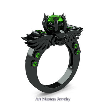 Art Masters Classic Winged Skull 14K Black Gold 1.0 Ct Peridot Solitaire Engagement Ring R613-14KBGP