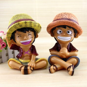 One Piece Monkey D Luffy piggy bank for cute Cartoon Savings bank decoration cartoon Animation doll model birthday gifts
