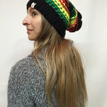 Knit Slouchy Hat Beanie Rasta Reggae Vegan Black Red Neon Yellow Green Warm And Cozy