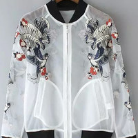 White Sheer Mesh Embroidered Organza Varsity Jacket