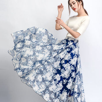 2015 New Blue Long skirts (C473)
