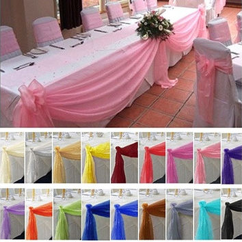 Details about  5M*0.5M Top Table Swags Sheer Organza Fabric DIY Wedding Party Bow Decorations [7983474759]